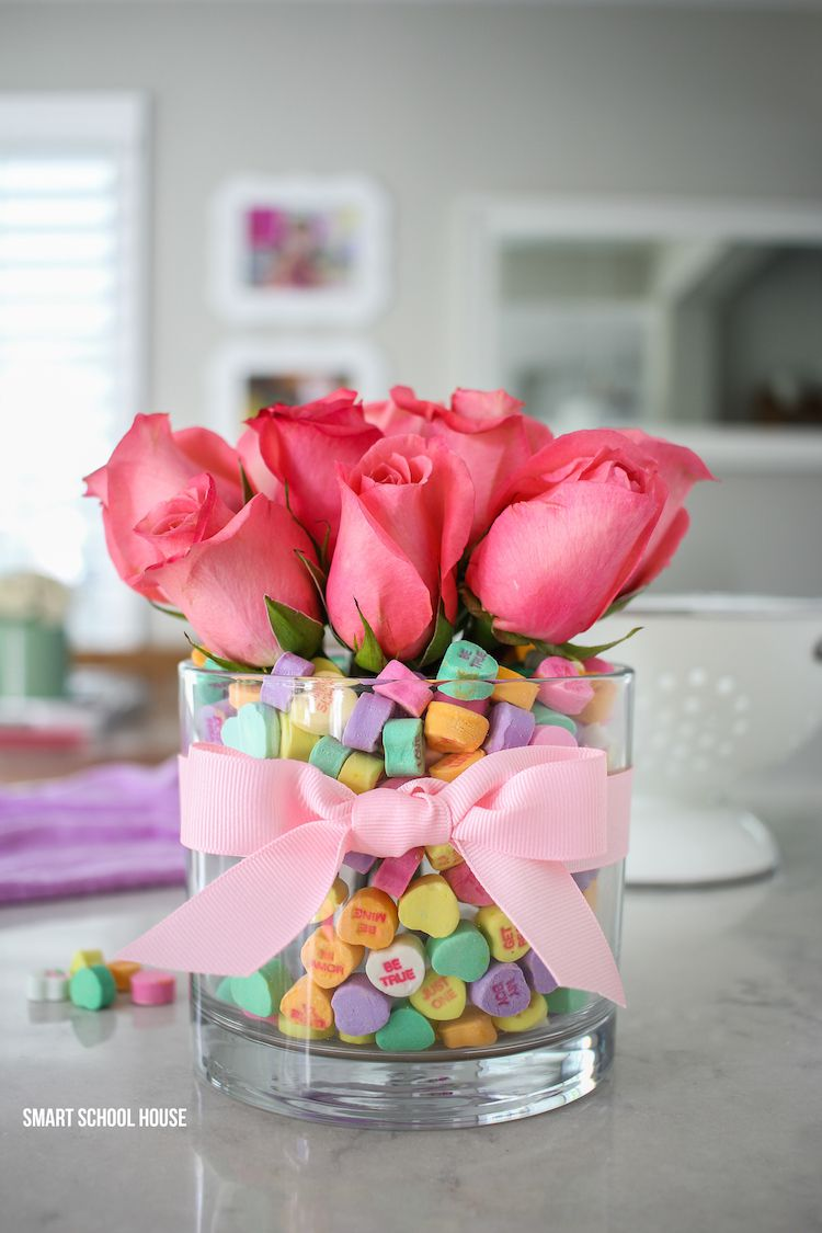 5.Conversation Heart Bouquet - Flowers and conversation hearts are a lovely combo sure to get the message across.
