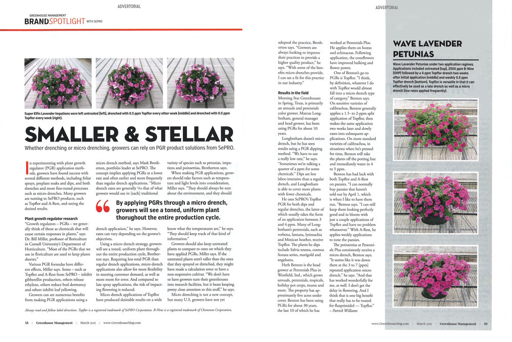 Greenhouse Management  magazine, Brand Spotlight article about Topflor (click to enlarge).