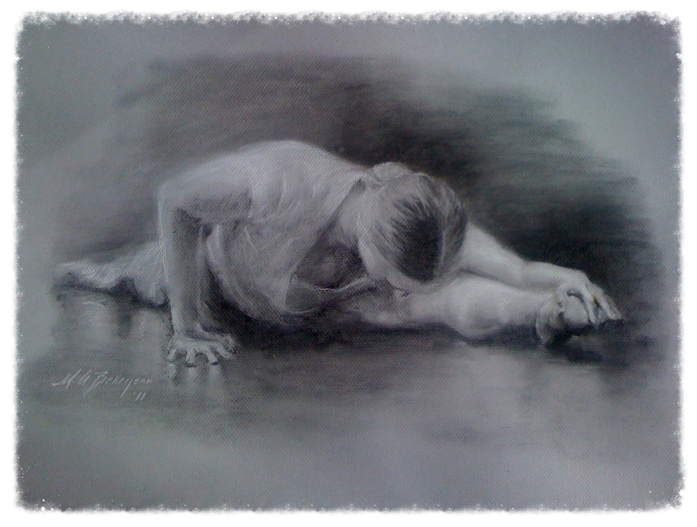 Warm up - charcoal on paper exercise - 11x14
