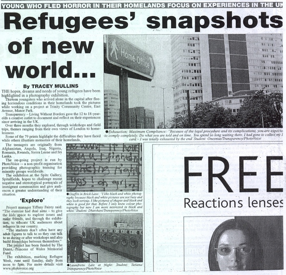 Transparency featured in The Newham Recorder, July 2002
