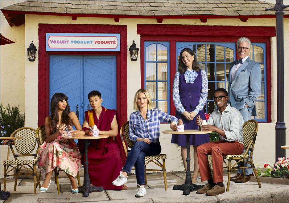 (Left to right) Tahani (Jameela Jamil), Jianyu (Manny Jacinto), Eleanor (Kristen Bell), Janet (D'arcy Carden), Chidi (William Jackson Harper), Michael (Ted Danson)© NBC