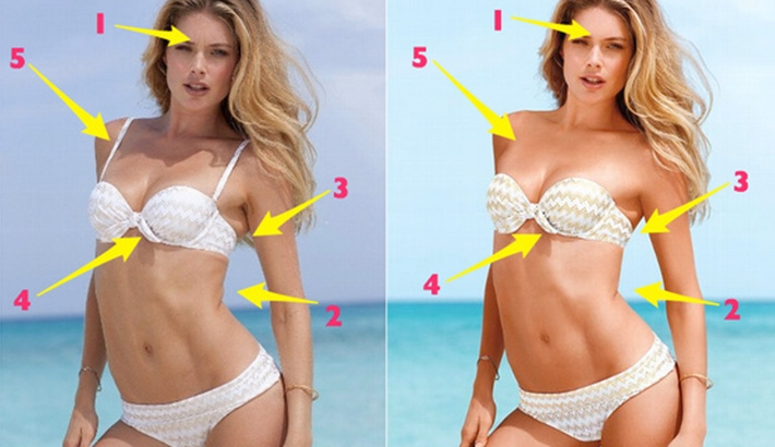 Before and after retouching on a Victoria's Secret photo shoot. Expression lines on her face have been removed. Skin folds have been removed or smoothed. The strap of her bathing suit that creates the illusion of cleavage has been removed. Image from Fstoppers via Jezebel.