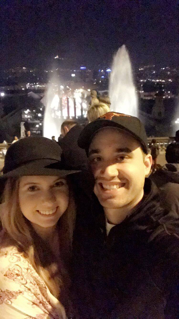 John & I at the Magic Fountain on our first night.