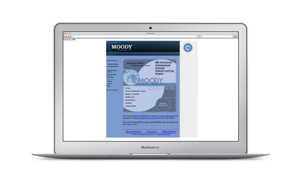 The old version of the website.