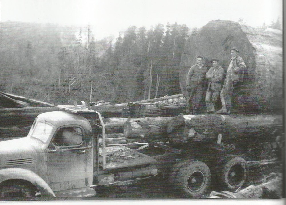 "Brix loggers in Ellsworth during the 1940's.  Left to right: Johnny Bighill, Art Paavola, and Arvin Simukka. Photo from ""When Logging Was Logging: 100 Years of Big Timber in Southwest Washington"" 2011.  Appelo Archives Center."