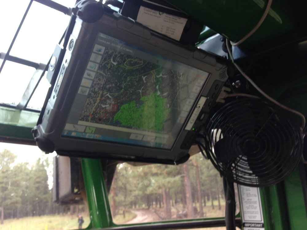 An in-cab tablet that helps the logger to know which trees to cute and which trees to leave behind in order to help achieve ecological restoration.