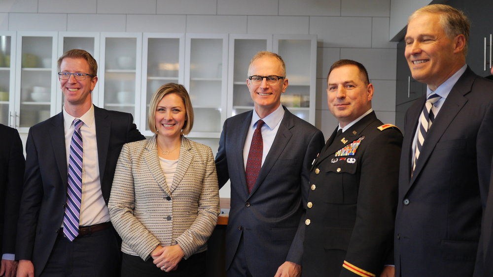 From left to right: Congressmen Derek Kilmer; Christy Goldfuss, White House CEQ Director; Mike Stevens, Conservancy State Director; Colonel Buck, Army Corps of Engineers; Governor Jay Inslee