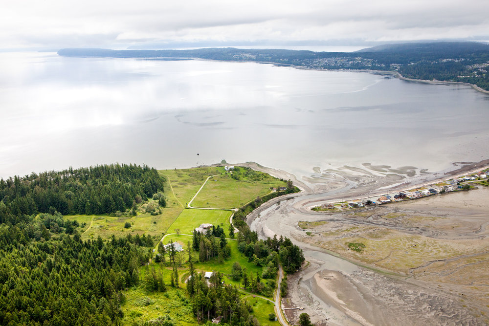 Aerial view of Barnum Point on Camano Island (Photo © Benj Drummond)