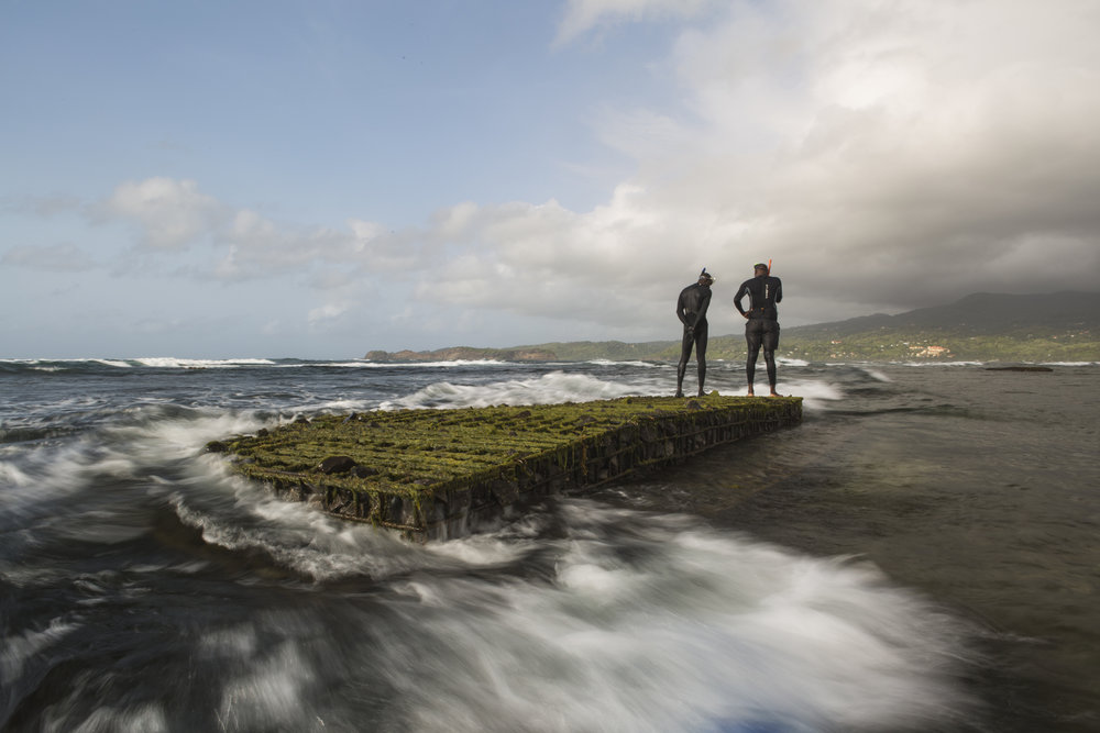 Two men stand atop an artificial reef in Grenville Bay, Grenada. Photo © Tim Calver