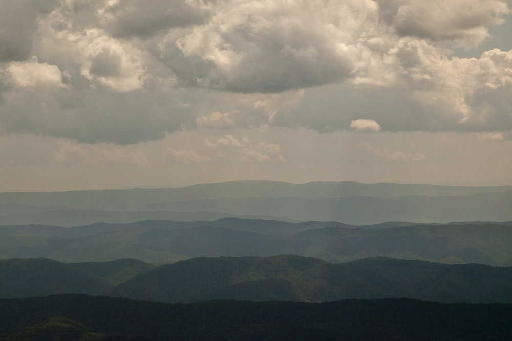 Aerial photo of forested hills in the West Virginia wilderness area of the Appalachian highlands. Photo © Kent Mason