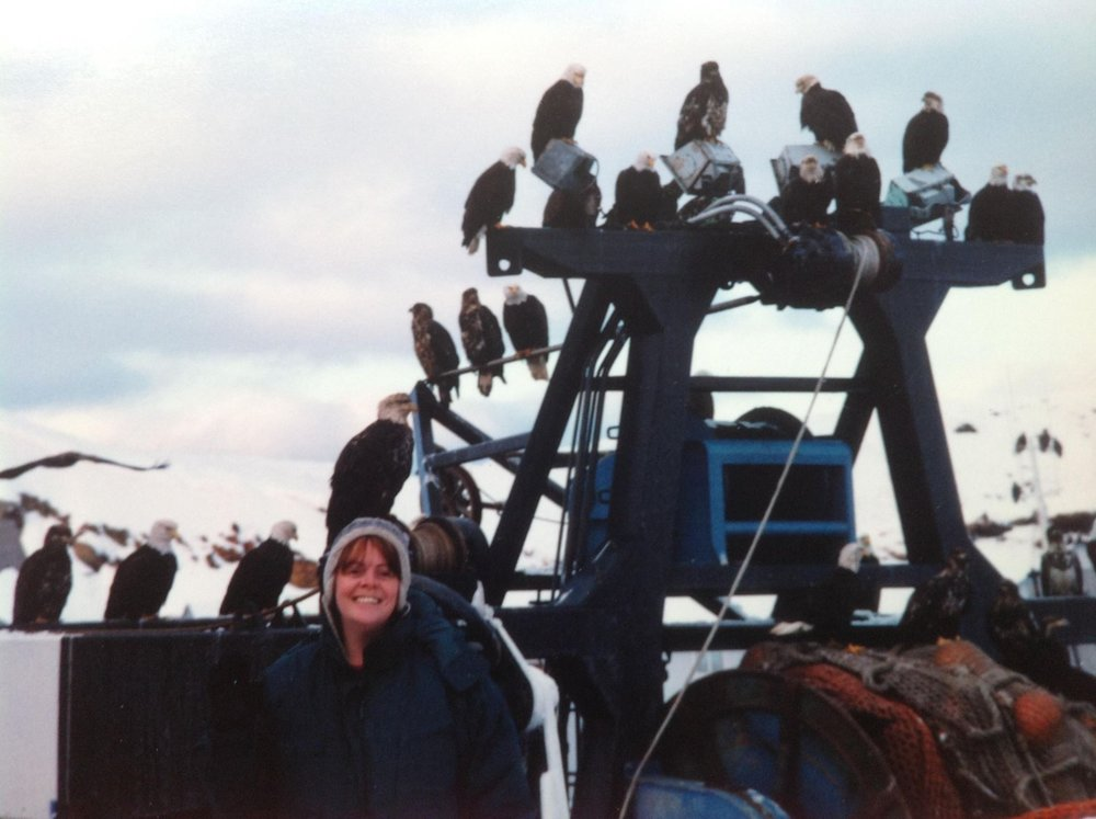 Eagles looking for scraps on the crab boats in Dutch Harbor, Alaska, around 2000. Photo courtesy Maxi Backhouse.