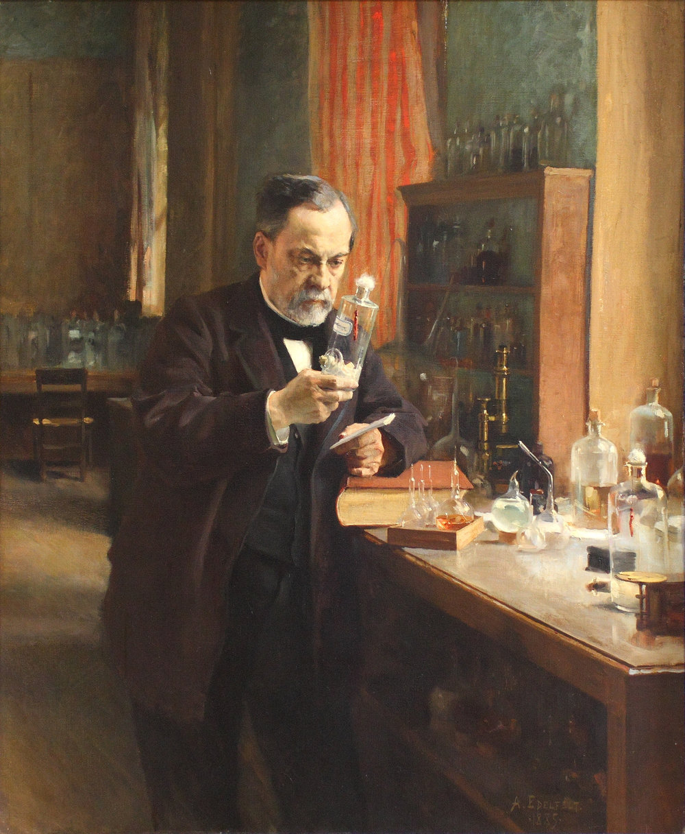 Louis Pasteur in his laboratory. Painting by A. Edelfeldt, 1885