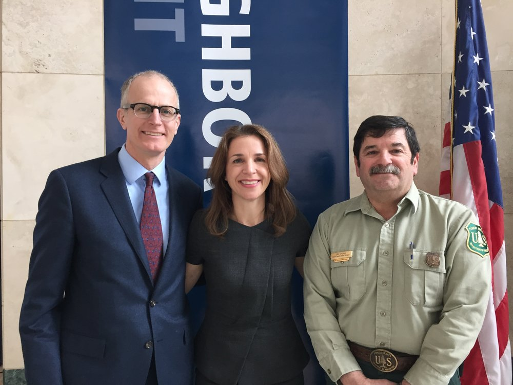 From left, Nature Conservancy in Washington Director Mike Stevens, Commissioner of Public Lands Hilary Franz and Forest Service Region 6 Director Jim Peña. (Photo © TNC)