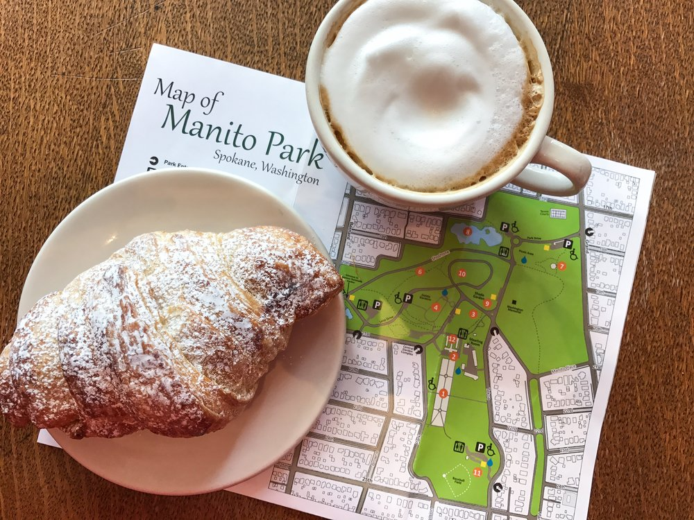 A chocolate croissant and a park to explore: Sounds like a perfect day. Photo by Erica Simek Sloniker.