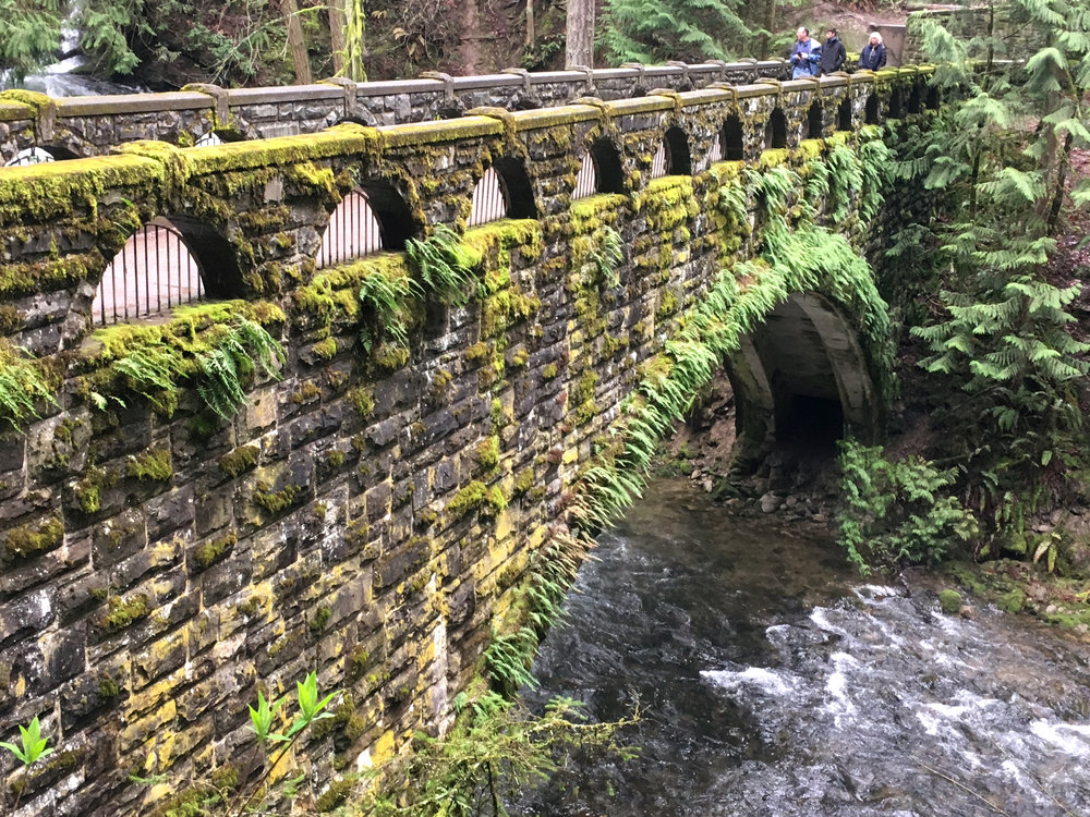 The Works Progress Administration-built stone bridge crossing Whatcom Creek.