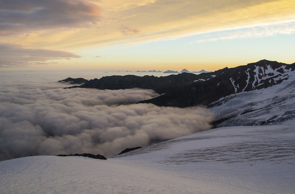 Clouds roll in new Mount Baker. Photo by Jacob Hall.