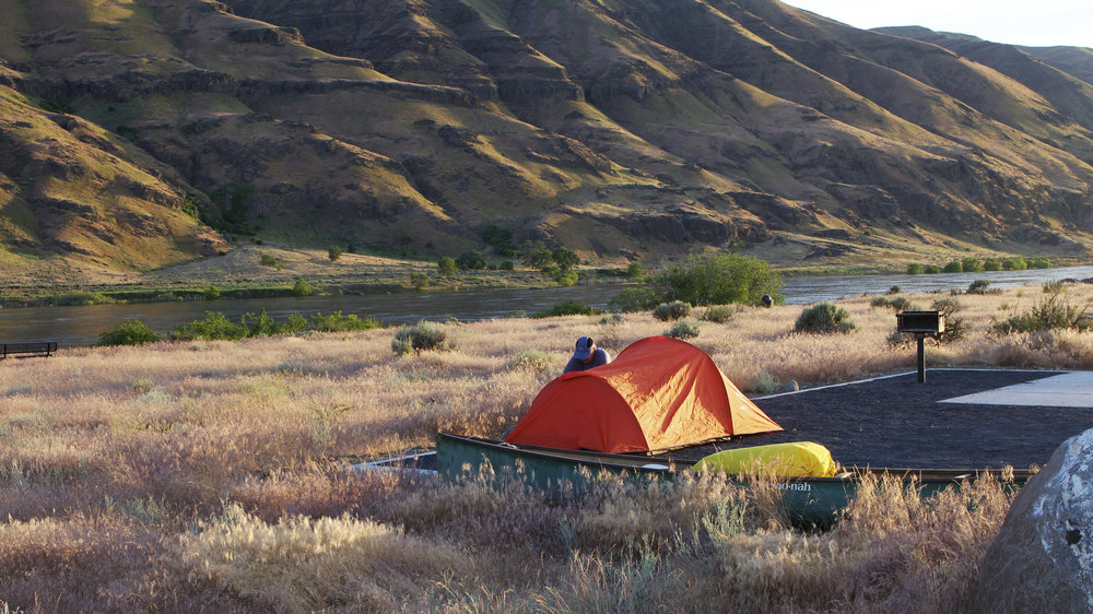 A campsite near the Columbia River in the Hanford Reach National Monument. Photo by Michael Deckert.