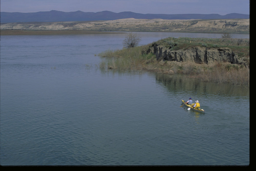 Kayakers on the Hanford Reach of the Columbia River.  Photo by Keith Lazelle.