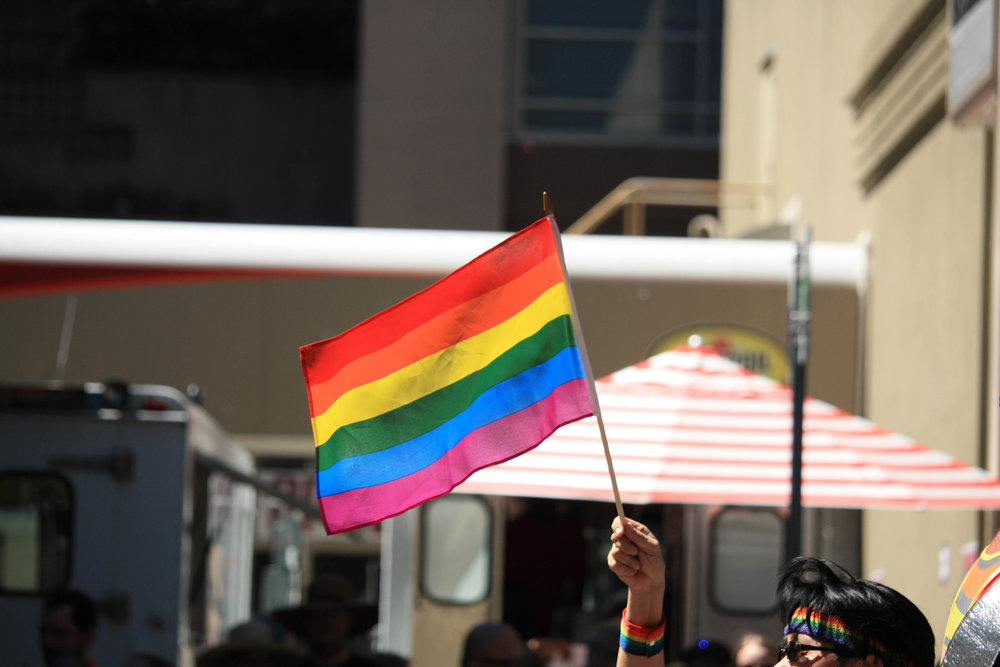A rainbow flag at the 2016 Pride parade in Seattle. Photo by Pallavi Shoroff.