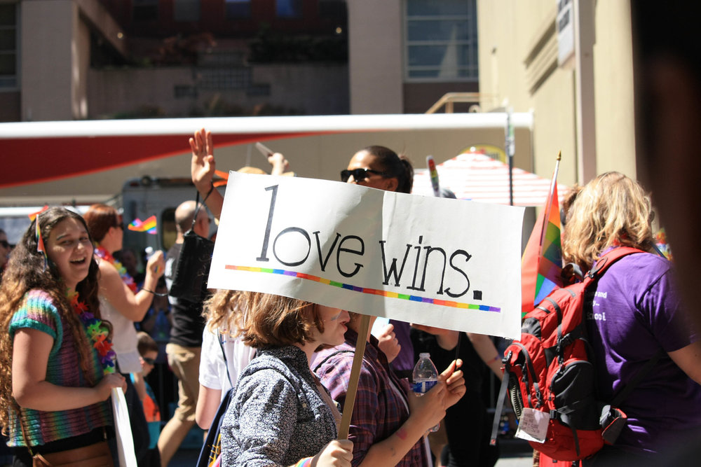 Marchers at the 2016 Pride parade in Seattle. Photo by Pallavi Shoroff