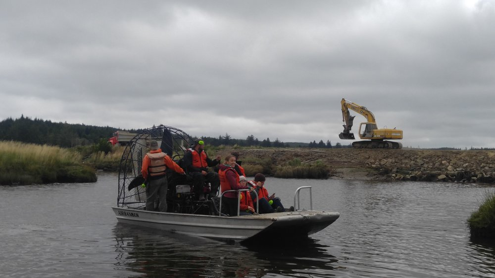 We watched as heavy equipment operators worked to remove a dike in the Willapa National Wildlife Refuge. Photo © Jessica Helsley