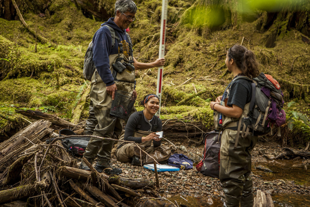 Members of the Haida tribe perform fish surveys on streams at Keat's Inlet on Prince of Wales Island. Streams that provide proof as good salmon habitat can be protected at the highest level by the state of Alaska. Photo credit: © Erika Nortemann/TNC