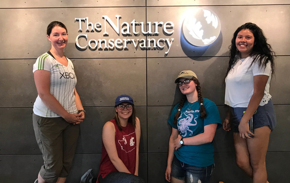 (L to R)  Led by teacher/mentor Carol, the 2017 Washington LEAF crew included Olivia, Isabel and Jackie. Follow all LEAF intern adventures on Instagram at #tncleaf2017.  Photo by Randi Shaw / TNC.