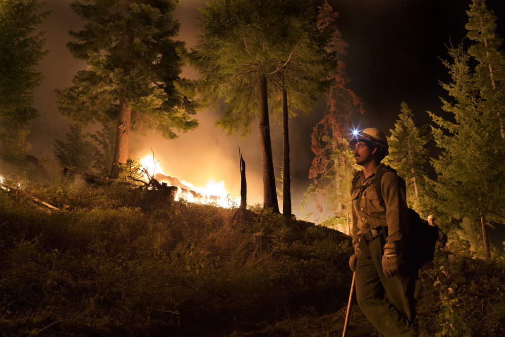 On the scene of the Jolly Mountain fire with the Entiat Hotshots fire crew. The fire started in Wenatchee National Forest in August 2017 and burned for three months. Photo © John Marshall.