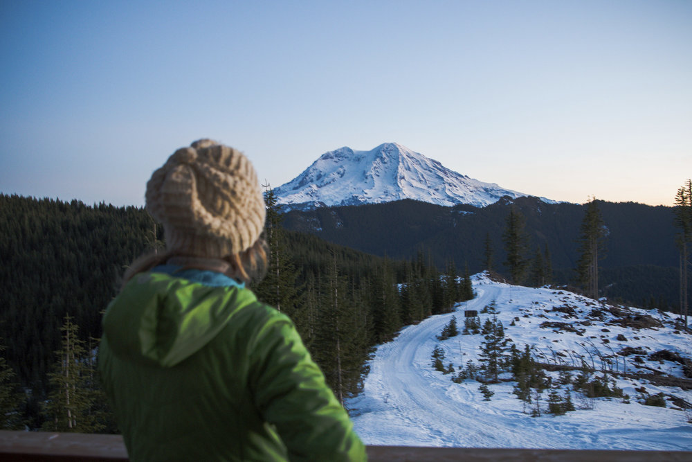 The view of Mount Rainier from the hut. Photo by Leslie Carvitto. Volunteer.