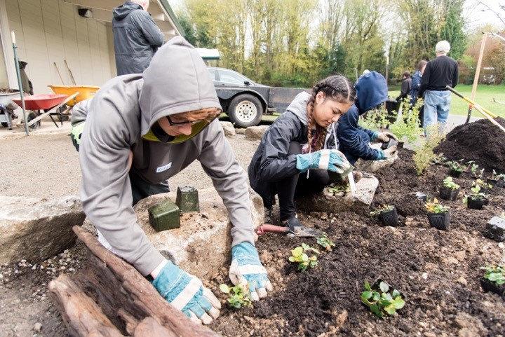 Students plant in the rain garden at Sylvester Middle School. Photo by Washington Green Schools