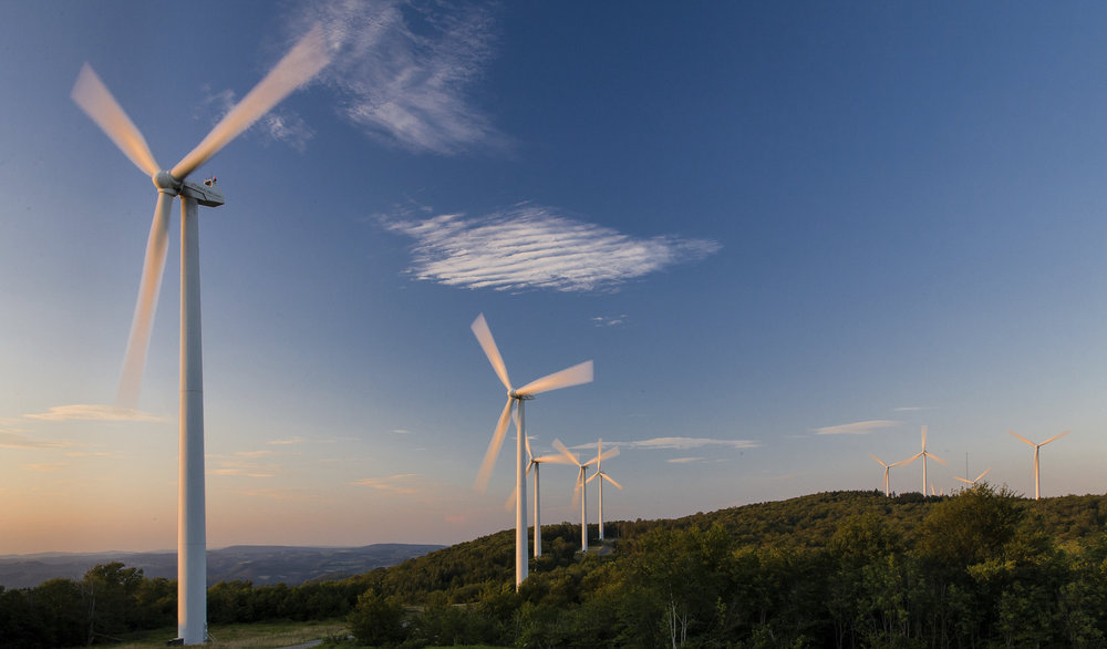 Wind farm turbines situated on a ridge top in the Appalachian mountains of West Virginia. Photo © Kent Mason