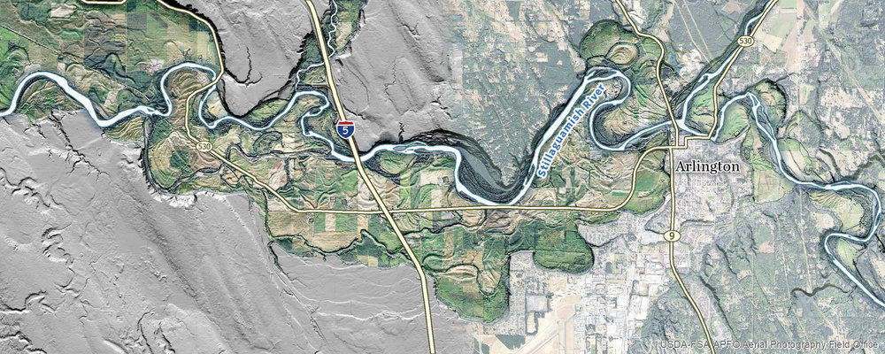 Lidar and land use imagery are blended to illustrate the overlay of landscape features and current land use in the floodplain, and surrounding area.