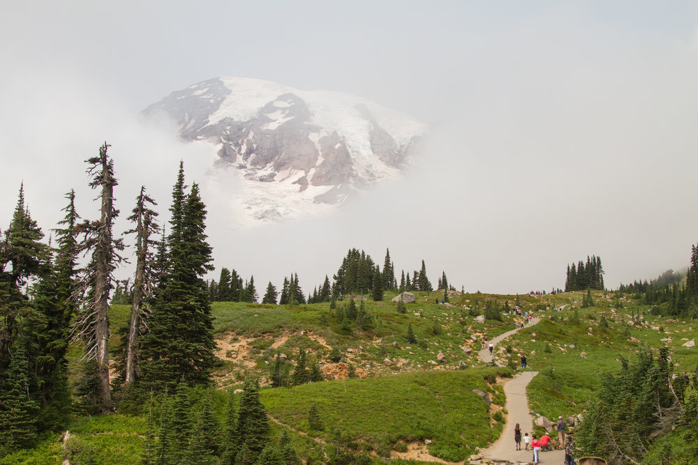 The first part of the trail is wide and paved to allow for increased accessibility to this beautiful landscape. Mount Rainier peeks out from behind passing clouds. © Kelly Compton