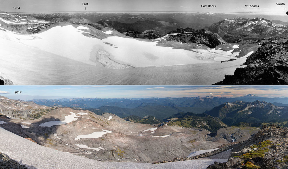 Panoramic comparisons reveal dramatic glacier loss between 1934 and 2017 at Sugarloaf Rock on Mt. Rainier. Historic image by George B. Clisby for the U.S. Forest Service, provided courtesy of the National Archives and Records Administration. Contemporary image by John F. Marshall for The Nature Conservancy.