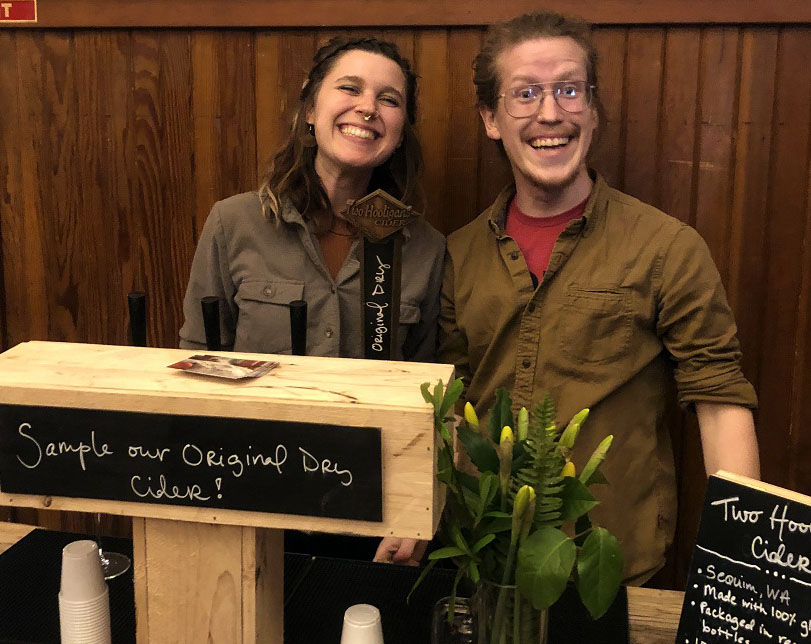 Jaiden Dokken (left) and MacKenzie Grinnell earned top honors at the 2019 WA Coast Works competition to support sustainable businesses on the Olympic Peninsula. Photo by Garrett Dalan.