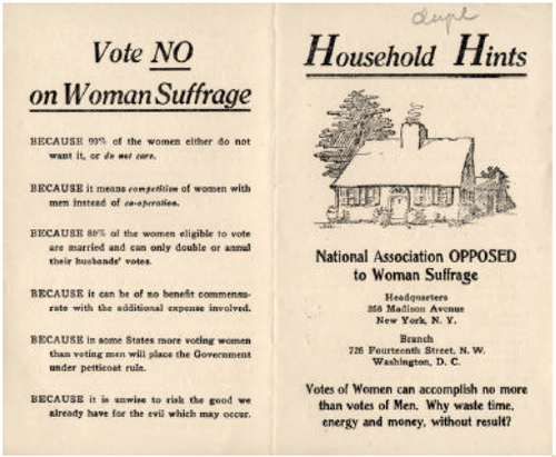 Opposition To Suffrage History Of Us Womans Suffrage