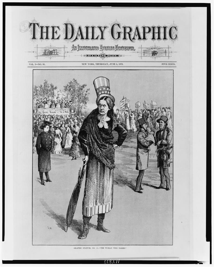 This cartoon, from The Daily Graphic, shows a man-like Susan B. Anthony, Library of Congress.
