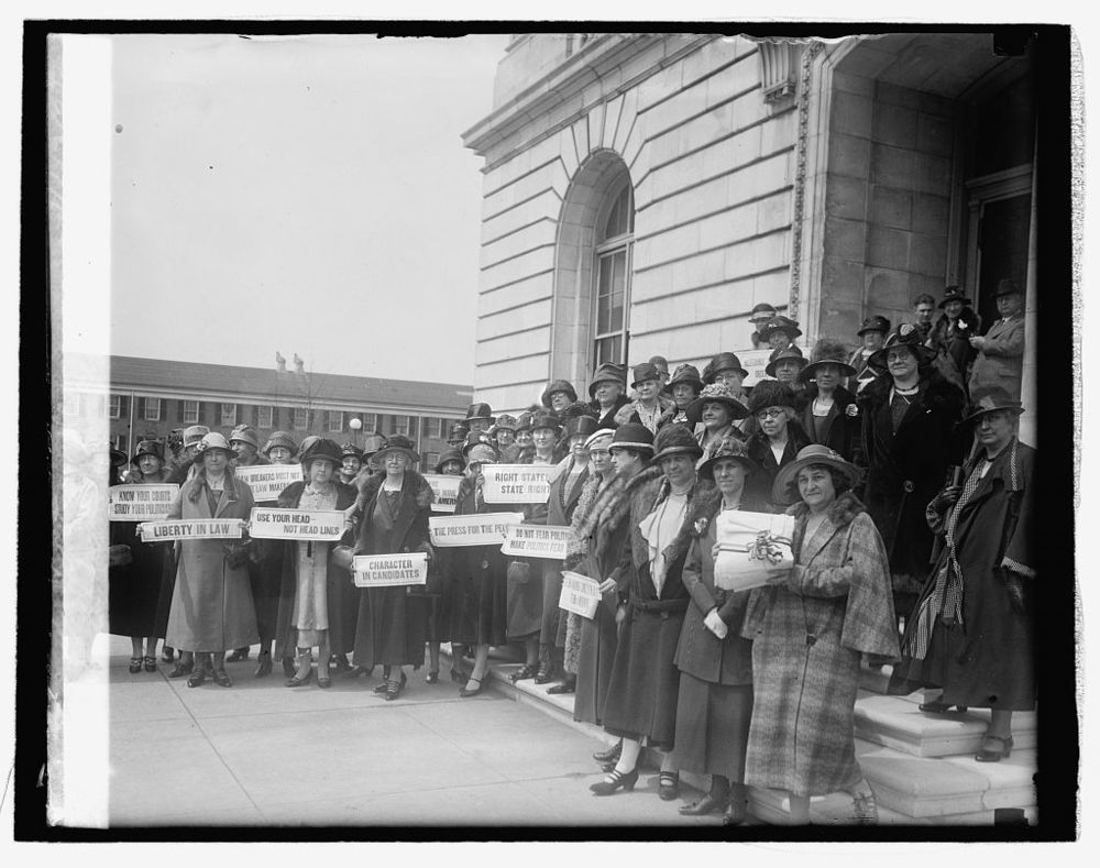 Women from New Jersey at  the Capitol during a prohibition hearing, Library of Congress.