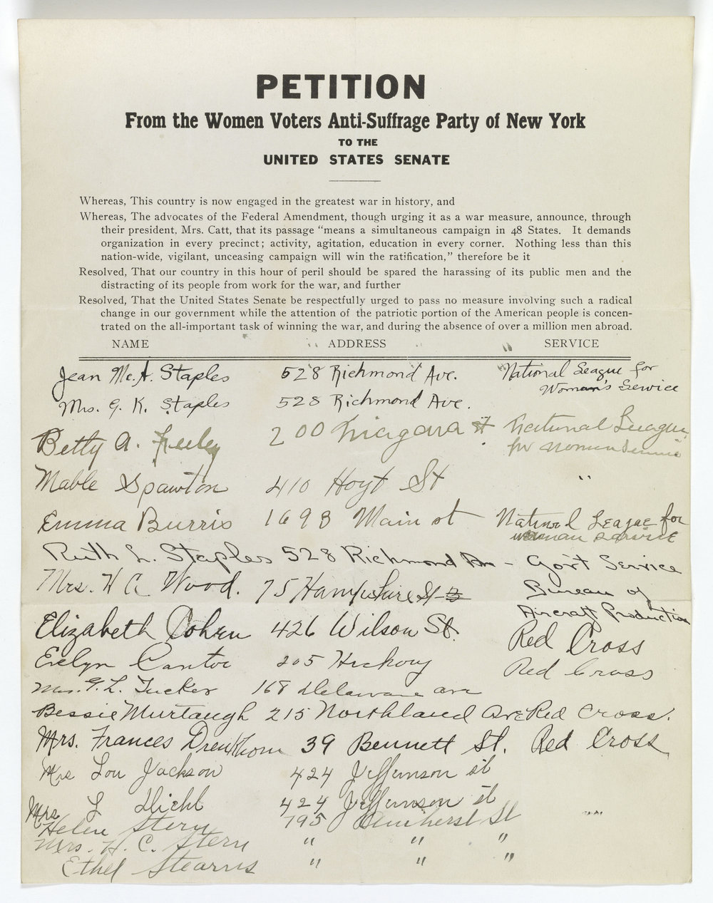 Petition from the Women Voters Anti-Suffrage Party of New York to the United States Senate