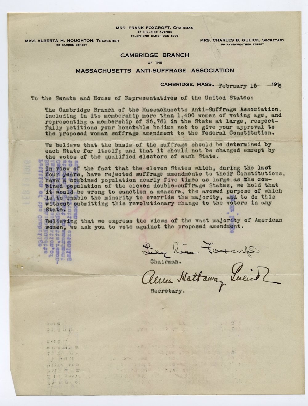 Letter from the Cambridge Branch of the Massachusetts Anti-Suffrage Association to the Congress of the United States of America