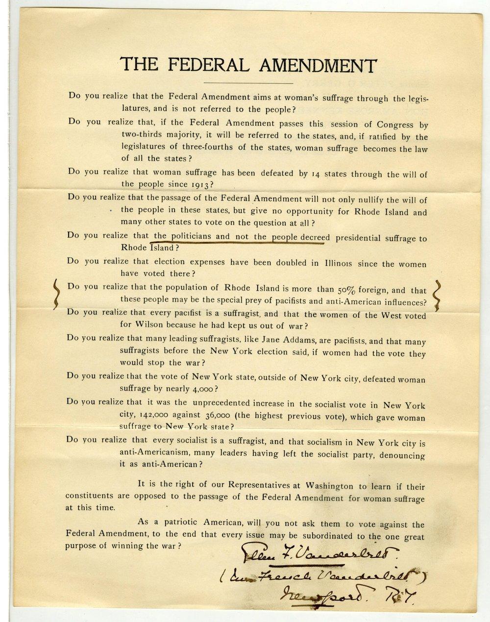 Letter Regarding the Federal Amendment from Ellen F. Vanderbilt