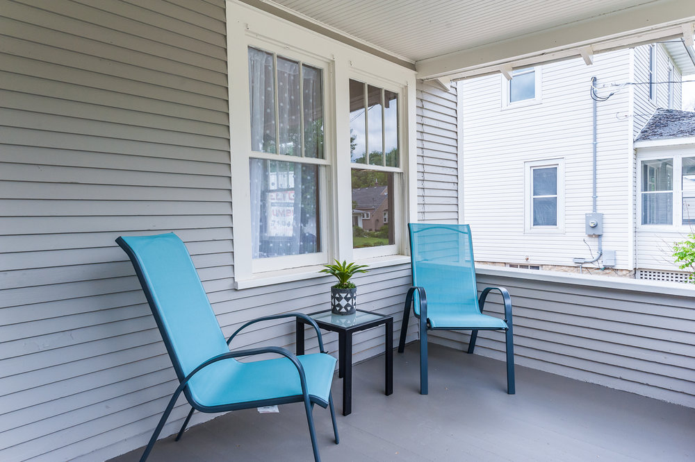Great front porch for relaxing and sipping morning coffee