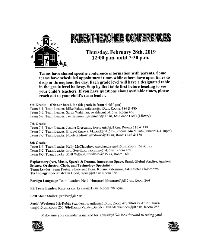 Why Parents Need To Teach Middle >> Parent Teacher Conferences February 28th Marquardt Middle School