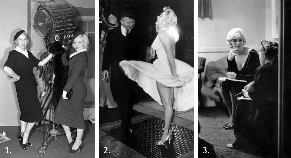1. Marilyn Monroe with body double,  Gentlemen Prefer Blondes.                                       2. Marilyn Monroe and Billy Wilder,  Seven Year Itch.                                      3. Marilyn Monroe with Paula Strasberg,  Some Like It Hot.