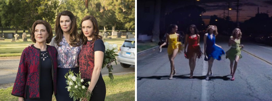 Left: The Gilmore Girls: A Year in the Life: Emily (Kelly Bishop) Lorelai (Lauren Graham) and Rory (Alexis Bledel).  Right: Mia (Emma Stone in electric blue) and roommates dancing down the street, Lalaland 2016.