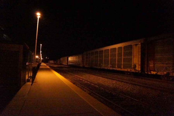 Night freight rolling, rumbling through New Brunswick