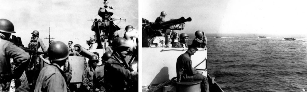 Quad-40 crews at post (l) and watching the landing craft go ashore (r).