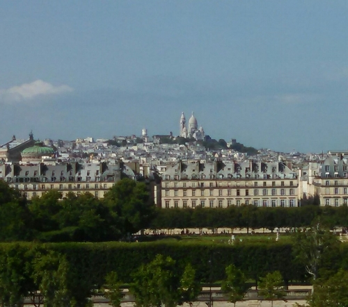 The church of Sacré-Cœur towering above Paris.