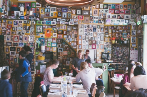 Moeder's in Amsterdam is covered floor-to-ceiling with customer-contributed pictures of mom.