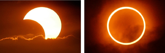 A partial (l) and annular (r) eclipse.